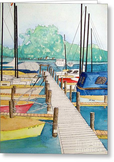 Ithaca Mixed Media Greeting Cards - Sailboats Ithaca New York Greeting Card by Charles Taggart