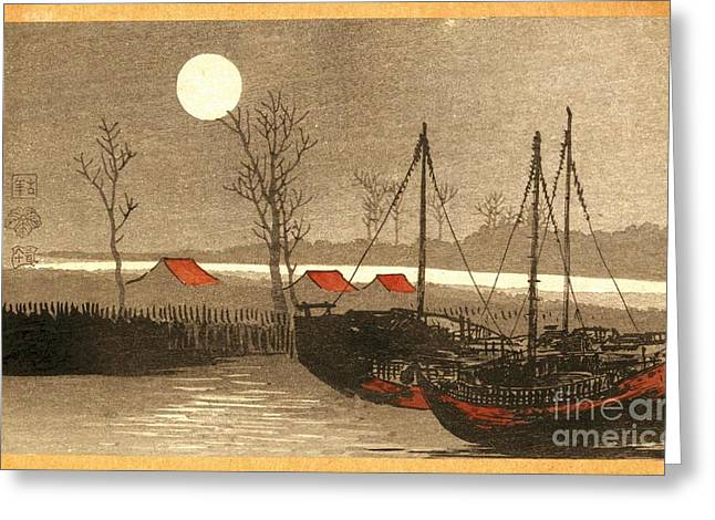 Sailboats Moored Under The Full Moon Greeting Card by Padre Art