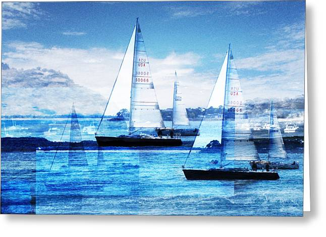 Blue Sea Greeting Cards - Sailboats Greeting Card by MW Robbins