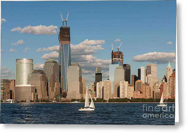 One Sailboat Greeting Cards - Sailboats on the Hudson III Greeting Card by Clarence Holmes