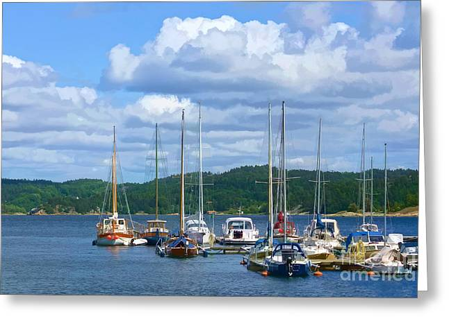 Sailboat Photos Greeting Cards - Sailboats painterly Greeting Card by Lutz Baar