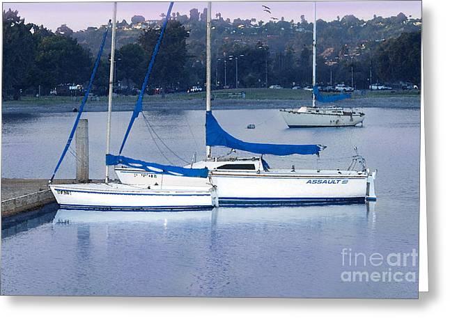 Sailboats Docked Digital Art Greeting Cards - Sailboats San Diego Greeting Card by Betty LaRue