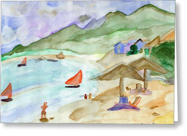 Sailboat Images Paintings Greeting Cards - Sailboats Greeting Card by Susan Risse