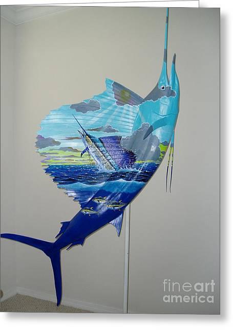Sailfish Art On Sailfish Greeting Card by Carey Chen