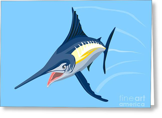 Swordfish Greeting Cards - Sailfish Diving Greeting Card by Aloysius Patrimonio