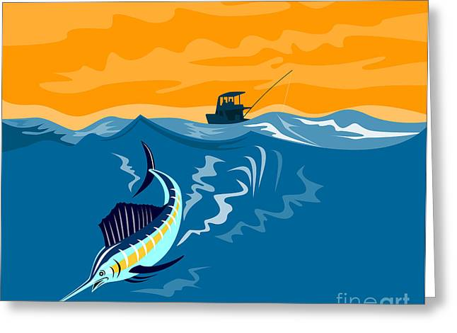 Swordfish Digital Art Greeting Cards - Sailfish Fish Jumping Retro Greeting Card by Aloysius Patrimonio