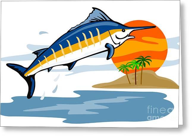 Swordfish Greeting Cards - Sailfish Island Greeting Card by Aloysius Patrimonio
