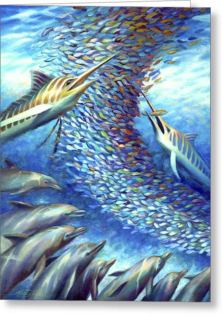 Swordfish Greeting Cards - Sailfish Plunders Baitball I - Marlin and Dolphin Greeting Card by Nancy Tilles