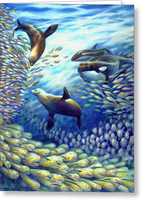 Frenzy Greeting Cards - Sailfish Plunders Baitball III - Dolphin Fish Seals and Whales Greeting Card by Nancy Tilles