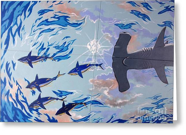 Reef Fish Greeting Cards - Sailfish Splash Park Mural 8 Greeting Card by Carey Chen