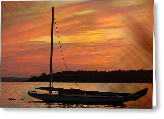 Yellow Sailboats Photographs Greeting Cards - Sailin On Dewey Greeting Card by Trish Tritz