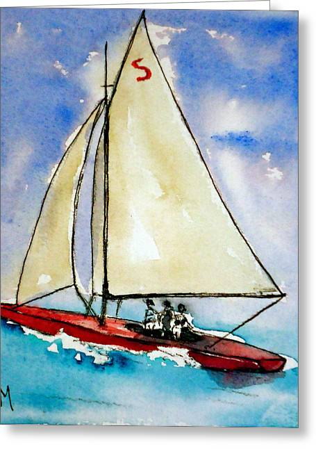 Winslow Homer Drawings Greeting Cards - Sailin Greeting Card by Pete Maier