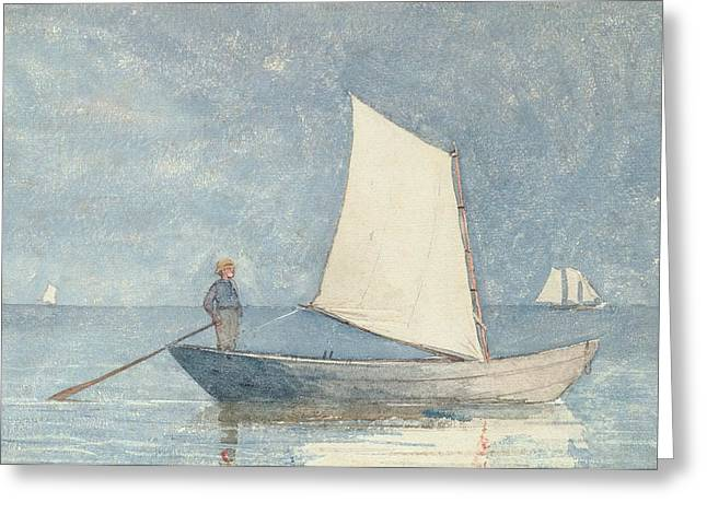 Calm Water Reflection Greeting Cards - Sailing a Dory Greeting Card by Winslow Homer