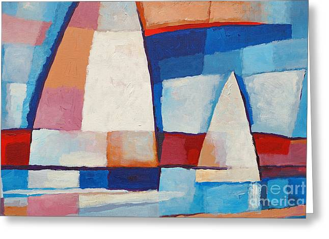 Abstract Seascape Greeting Cards - Sailing along Greeting Card by Lutz Baar