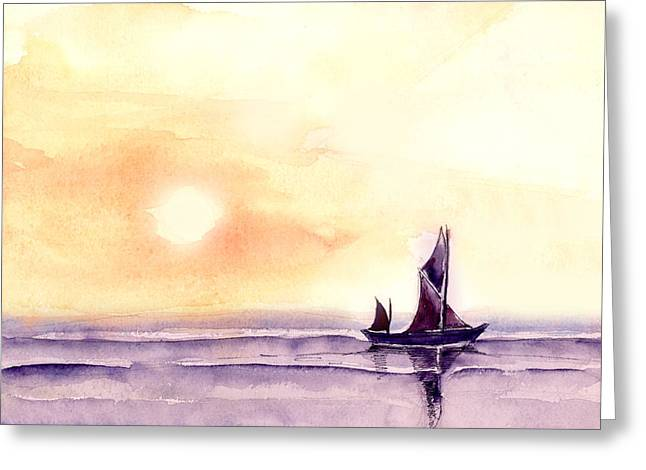 Sunset Seascape Paintings Greeting Cards - Sailing Greeting Card by Anil Nene