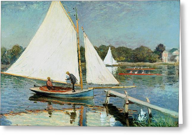 Sculling Greeting Cards - Sailing at Argenteuil Greeting Card by Claude Monet