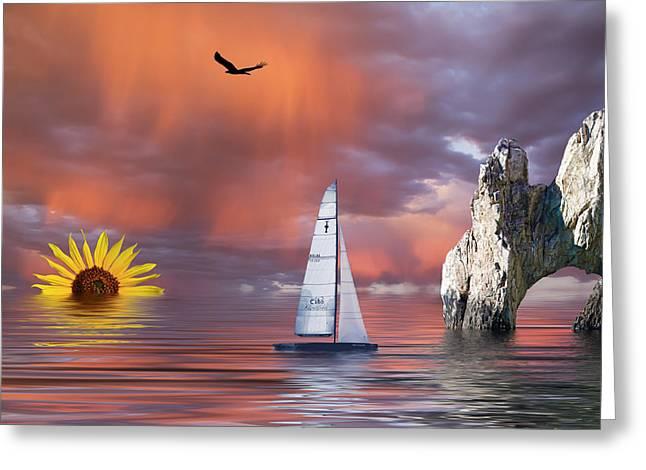Sailing Boat Mixed Media Greeting Cards - Sailing at Sunset Greeting Card by Shane Bechler