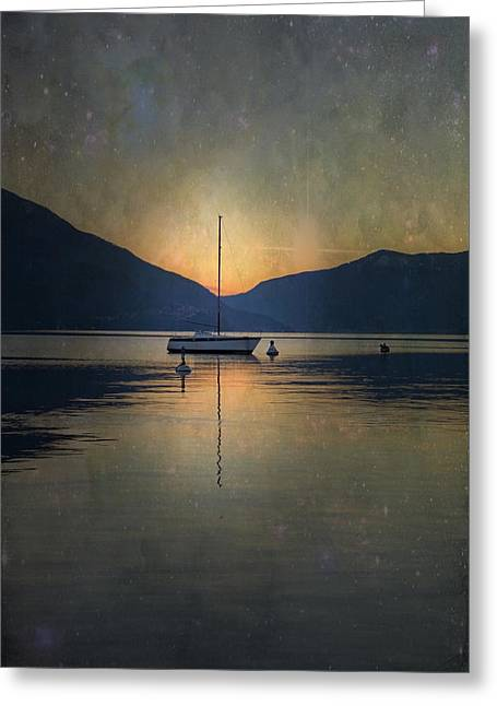 Ticino Greeting Cards - Sailing Boat At Night Greeting Card by Joana Kruse