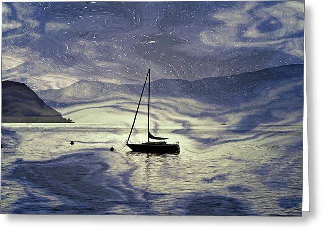 Desert Lake Greeting Cards - Sailing Boat Greeting Card by Joana Kruse