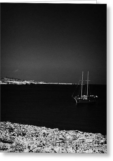 Sailing Boat Moored In A Quiet Bay Near Cape Gkreko Greco Republic Of Cyprus Greeting Card by Joe Fox