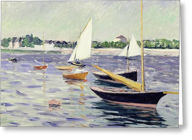 1891 Greeting Cards - Sailing Boats at Argenteuil Greeting Card by Gustave Caillebotte
