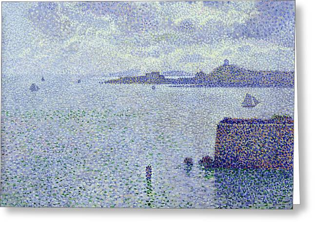 Sailing Boats In An Estuary Greeting Card by Theo van Rysselberghe