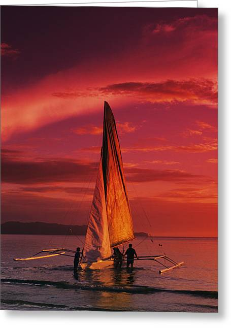 Canoe Waterfall Greeting Cards - Sailing, Boracay Island Greeting Card by William Waterfall - Printscapes