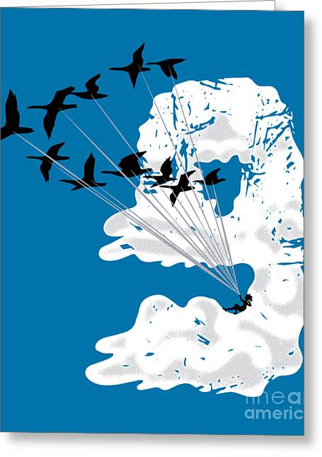Parasail Greeting Cards - Sailing Cloud Nine Greeting Card by Laura Brightwood
