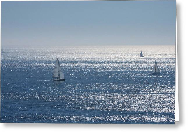 Recently Sold -  - Blue Sailboats Greeting Cards - Sailing Greeting Card by Glennis Siverson