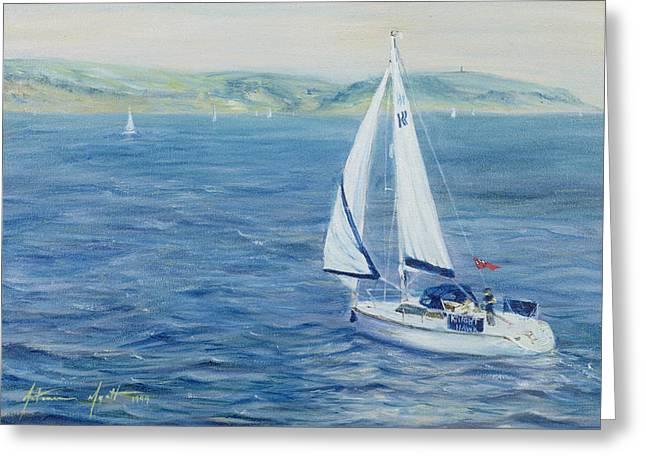 Knighting Paintings Greeting Cards - Sailing Home Greeting Card by Antonia Myatt