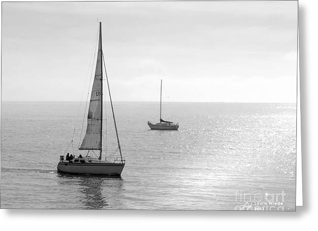 Sailing in Calm Waters Greeting Card by Artist and Photographer Laura Wrede