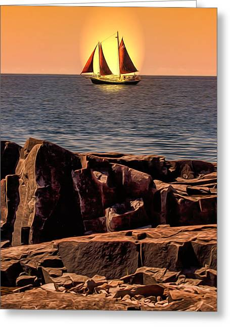 Sailing In Grand Marais Greeting Card by Bill Tiepelman