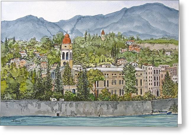 In The End I Greeting Cards - Sailing Into Corfu Greece Greeting Card by Bonnie Sue Schwartz