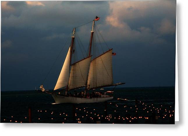 Sailboat Images Greeting Cards - Sailing into Sunset  Greeting Card by Rose  Hill