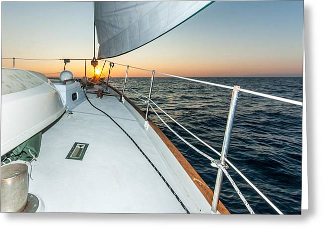 Up201209 Greeting Cards - Sailing Into The Sunset Greeting Card by Josh Whalen