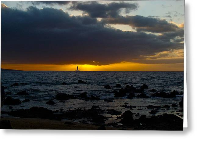 ; Maui Greeting Cards - Sailing into the Sunset Greeting Card by Karon Melillo DeVega