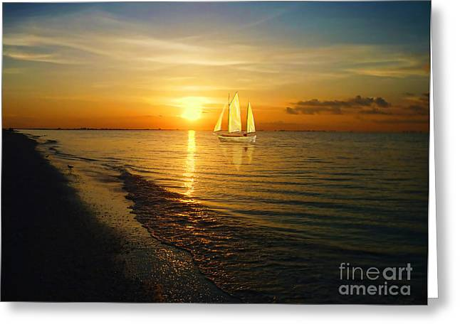 Sailboat Ocean Greeting Cards - Sailing Greeting Card by Jeff Breiman