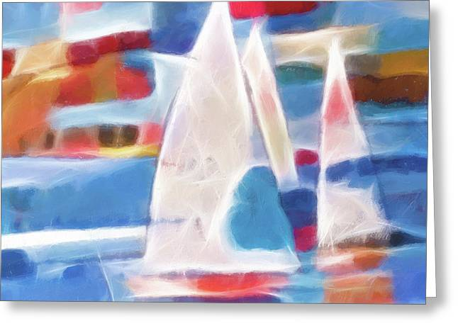 Abstract Seascape Digital Greeting Cards - Sailing Joy Digital Greeting Card by Lutz Baar