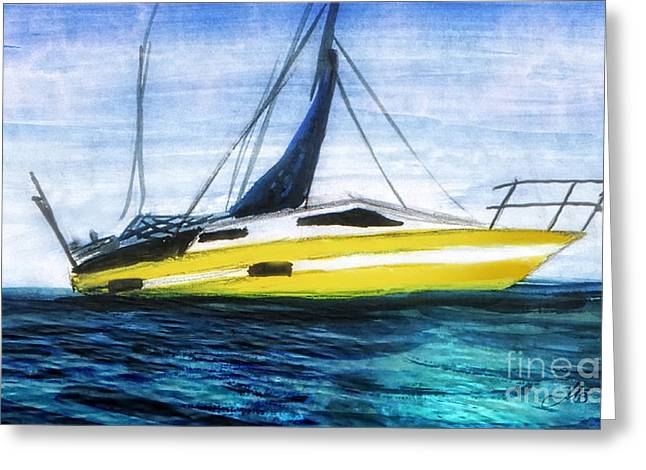 White Paintings Greeting Cards - Sailing Greeting Card by Mo T