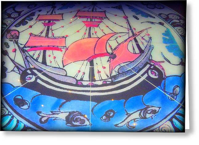 Rosette Greeting Cards - Sailing Mosaic Greeting Card by Randall Weidner