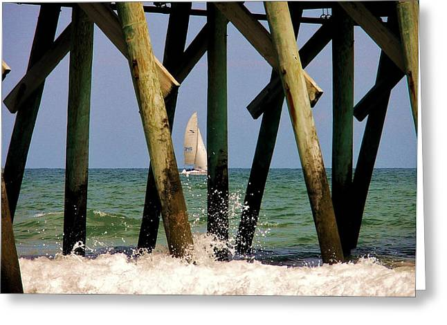 Beach Photography Greeting Cards - Sailing Greeting Card by Paulette Thomas