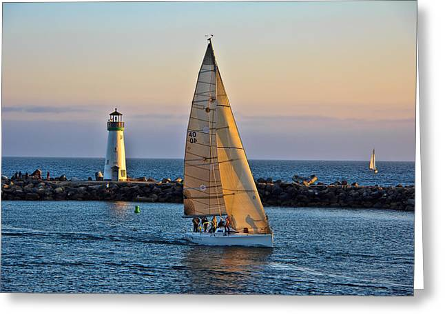 Sailing Greeting Card by Randy Wehner Photography