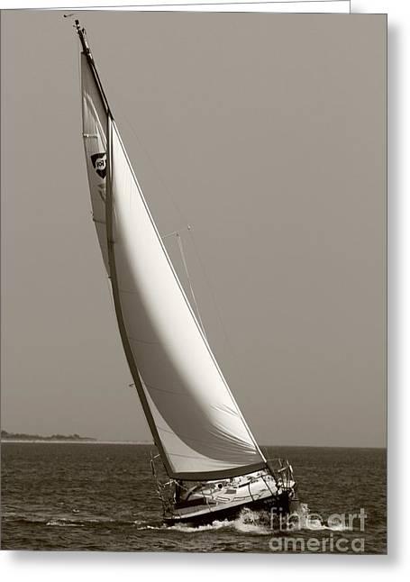 Sailboat Greeting Cards - Sailing Sailboat Sloop Beating to Windward Greeting Card by Dustin K Ryan