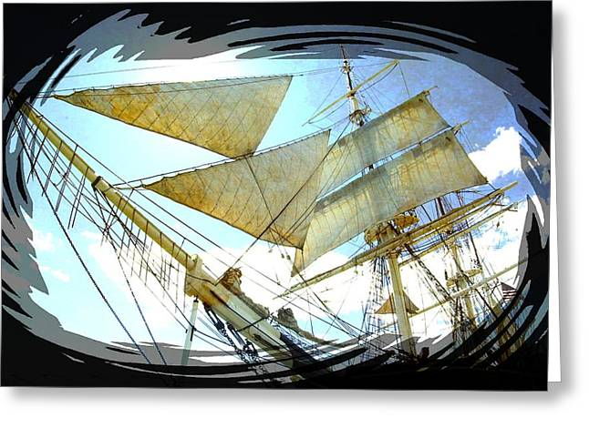 Wooden Ship Greeting Cards - Sailing Ship - 1 Greeting Card by Larry Mulvehill