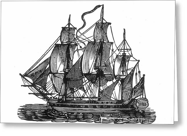 18th Century Greeting Cards - SAILING SHIP, 18th CENTURY Greeting Card by Granger