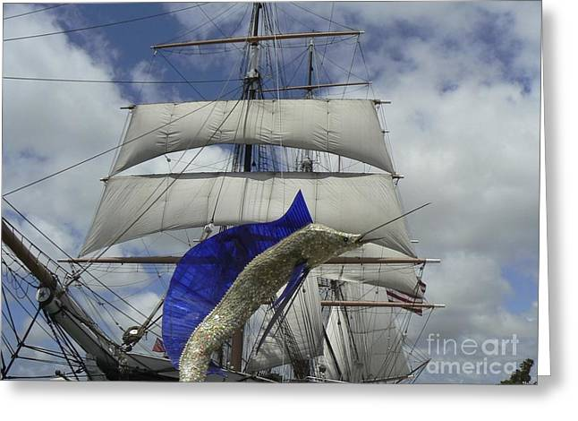 Historic Ship Greeting Cards - Sailing Ship in San Diego Greeting Card by Rincon Road Photography