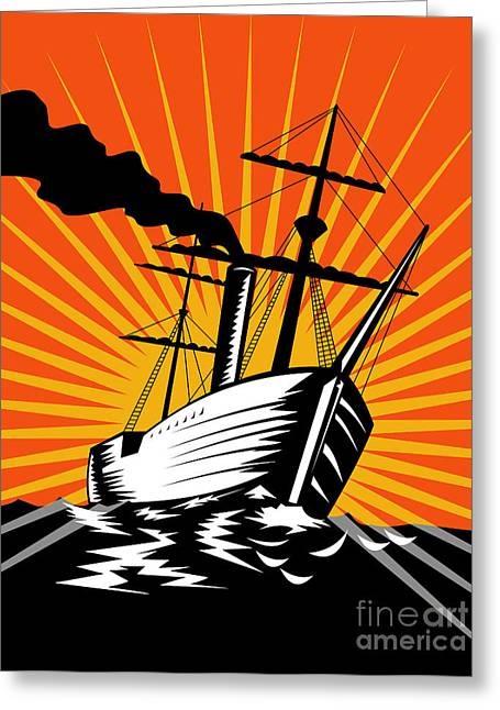 Steam Ship Greeting Cards - Sailing Ship Retro Woodcut Greeting Card by Aloysius Patrimonio