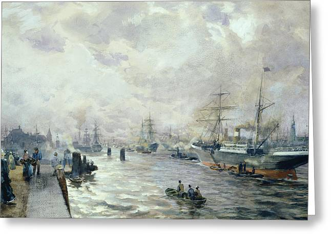 German Ocean Greeting Cards - Sailing Ships in the Port of Hamburg Greeting Card by Carl Rodeck