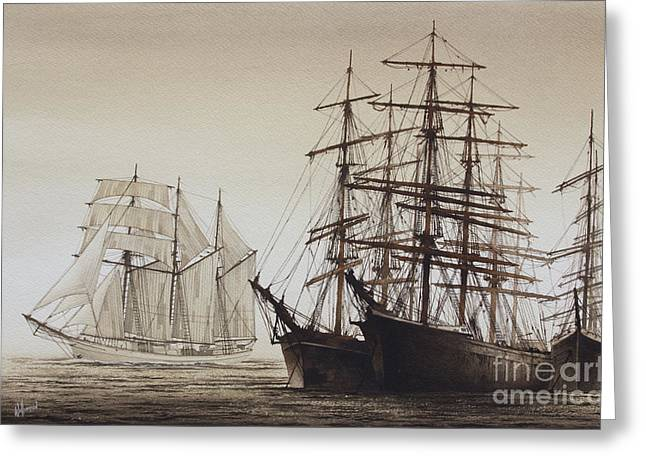 Sailing Ships Greeting Card by James Williamson
