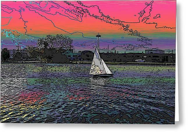 Tim Allen Greeting Cards - Sailing South Lake Union Greeting Card by Tim Allen